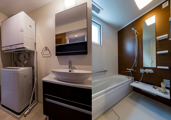 Comfortable bathroom and washstand