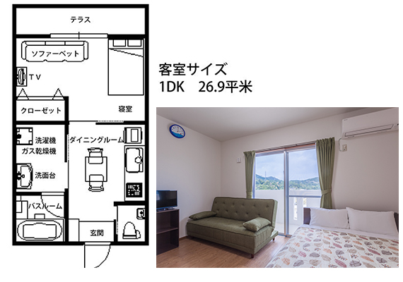 1DK room (26.9 ㎡) on the 4th floor in newly built 4-story condominium (free Wi-Fi connection)
