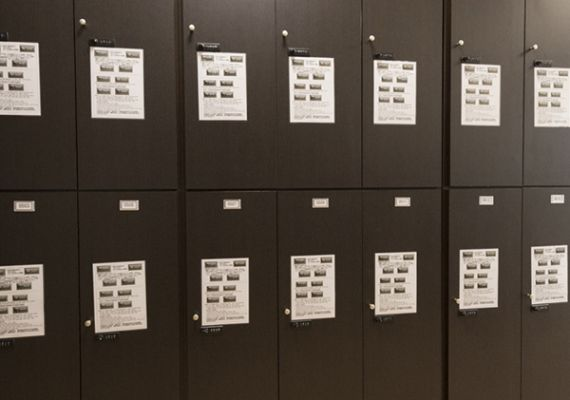 Lockers with security codes.