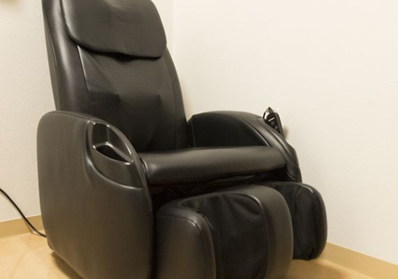 Massage chairs are also available.