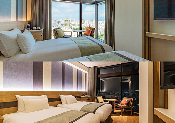 【Standard twin】All rooms face street side and from the large window you can overview streets of Naha.