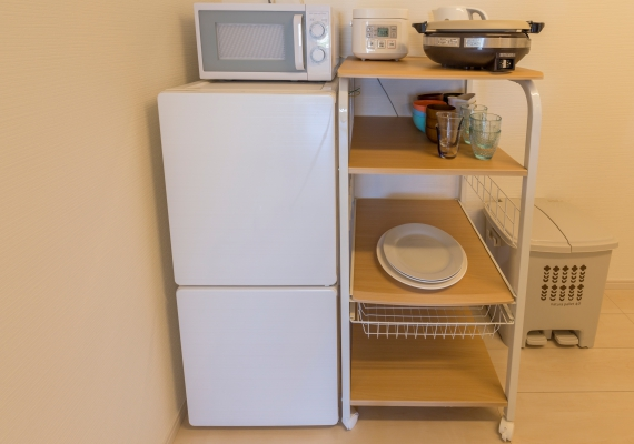 Equipped with refrigerator, microwave oven and pot