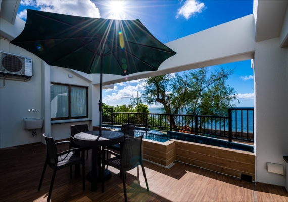 Annex beach side villa special room Balcony. We can enjoy BBQ by prior reservation.
