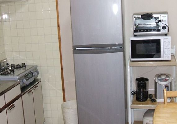 Kitchen and refrigerator comprise. The photograph is for illustrative purposes only.