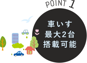 POINT1 車いす最大3台搭載可能