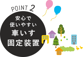 POINT2 安心で使いやすい車いす固定装置