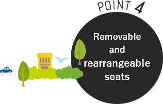 POINT4 Removable and rearrangeable seats