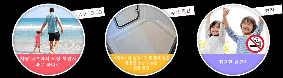 차량 내부에서 의상 체인지!! 바로 바다로 GO! GO!!・수영복이나 놀이도구 등 물에 젖은 용품을 수납 가능한 전용 공간 ・청결한 금연차